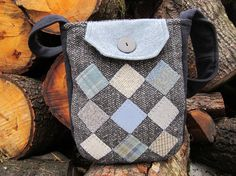 Wool patchwork crossbody totebag by granniesraggedybags on Etsy, $30.00