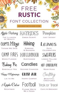Free Font Collection Rustic Fonts — Journey With Jess Inspiration for your Creative Side is part of Rustic font Happy fall! It& been almost 7 weeks since my last font collection series post and - Fancy Fonts, Cool Fonts, Creative Fonts, Farmhouse Font, Farmhouse Decor, Info Board, Calligraphy Fonts, Handwritten Fonts, Script Fonts Free