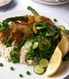 Crumbed zucchini flowers with crab mayonnaise & pea salad. By Karen Martini. Zucchini Flowers, Pea Salad, Mayonnaise, Martini, Melbourne, Writer, Favorite Recipes, Chicken