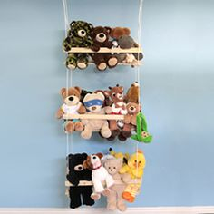 Get the clutter of stuffed animals off the floor in your kids room and up on a sweet, tidy stuffed animal swing.  Gotta remember this for when I have kids!!