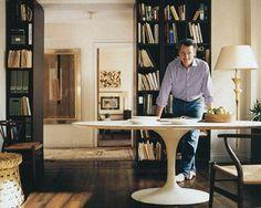Tom Scheerer study with Saarinen table, Wishbne chair and wovwn Guatemalan stool