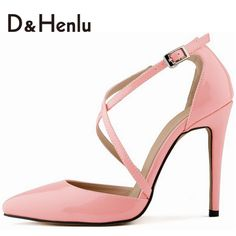 {D&H} Newest Pink Pumps Sexy Cross Straps Pumps Beautiful Thin Heels Pointed Toe Dresses Shoes Brand Shoes Woman Plus Size12