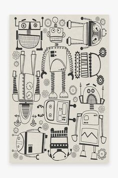 At once retro and futuristic, this Robot Party Black & White Rug has all the circuitry for fun. Science Fiction, Black White Rug, Retro, Machine Washable Rugs, Elementary Art, Doodle Art, Doodle Kids, Art Lessons, Colorful Rugs