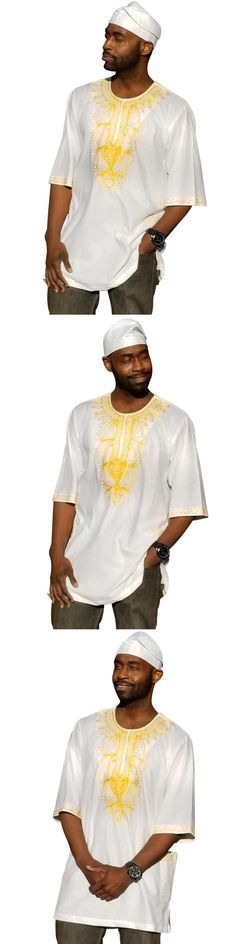 94f171a15c9 Africa 155241  Off-White African Dashiki Shirt With Golden Orange  Embroidery Dp3790m -  BUY IT NOW ONLY   44.95 on eBay!