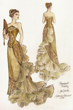 Steampunk Princess Ballgown - by fashion artist Catherine Benedict. I don't see the 'steampunk' aspect, but I still love the gown. Costume Steampunk, Steampunk Dress, Steampunk Wedding, Victorian Steampunk, Steampunk Fashion, Steampunk Belle, Steampunk Design, Illustration Mode, Illustrations