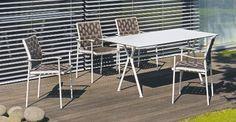 Nizza Stapelsessel, Gestell: creme-weiß, Sitzfläche: Gurt Sierra