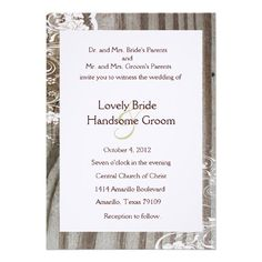 See MoreBanded Wood Shabby Lace Wedding Invitation, Whiteyou will get best price offer lowest prices or diccount coupone