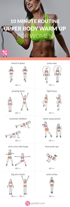 Prepare your back, chest, arms and shoulders for strength training with this 10 minute upper body warm up routine. Start the timer and enjoy your workout! http://www.spotebi.com/workout-routines/10-minute-upper-body-warm-up-routine-for-women/