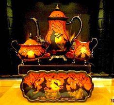 Great tea set for a halloween party Retro Halloween, Halloween Dishes, Halloween Magic, Halloween Table, Halloween Cat, Holidays Halloween, Happy Halloween, Halloween Decorations, Halloween Stuff