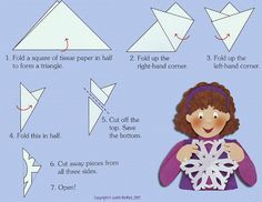 Snowflakes- tutorial for folding paper snowflakes