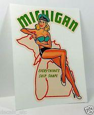 Michigan Pinup Vintage Style Travel Decal, Vinyl Sticker, Luggage Label