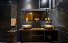 The Caesarstone Concetto Red Tigers Eye natural stone in this bathroom vanity is bold and beautiful. Black And Gold Bathroom, Brown Bathroom Decor, Gold Bathroom Accessories, Bathroom Sets, Bathroom Designs, Black Cabinets Bathroom, Bathroom Countertops, Timeless Bathroom, Beautiful Bathrooms