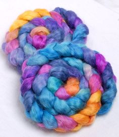 Peace Haven - 2 matching  WENSLEYDALE  Hand Painted roving top spinning by YummyYarnsUK, £10.99