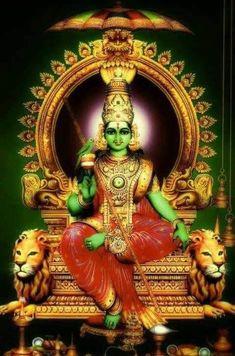 "Siva explains the trend of showing Goddess Meenakshi in green. ""According to myth, Meenakshi is said to have a dusky complexion, an indication of her Dravidian origin. Shiva Art, Shiva Shakti, Hindu Art, Lord Murugan Wallpapers, Lord Krishna Wallpapers, Saraswati Goddess, Goddess Lakshmi, Durga Maa, Durga Images"