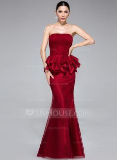 Trumpet/Mermaid Strapless Floor-Length Tulle Evening Dress With Appliques Lace Cascading Ruffles (017050140) - JJsHouse