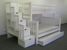 Bunk Beds Twin Over Full Stairway White Trundle