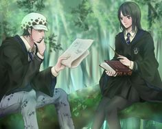 One piece and Harry Potter crossover - Trafalgar D . Water Law and Nico Robin Ravenclaw