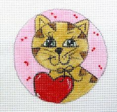 Valentine Kitty Cat w/Red Heart on Pink Handpainted Round Needlepoint Canvas