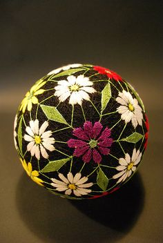 "Japanese Temari.... Temari (手まり?) balls are a folk art form that originated in China and was introduced to Japan around the 7th century A.D.[1] ""Temari"" means ""hand ball"" in Japanese. Embroidered balls may be used in handball games. (from Wikipedia)"