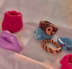 Fimo Ring, Polymer Clay Ring, Resin Ring, Funky Jewelry, Cute Jewelry, Diy Clay Rings, Accesorios Casual, Chunky Rings, Cute Rings