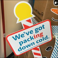 This UPS Shipping-Box-Snowman Packing Down Cold is the perfect Wintery Day in-store promotion, And yes, snowstorm or no snowstorm, UPS is open today and. Ups Shipping, Shipping Boxes, Ups Store, United States Postal Service, Retail Merchandising, Hanukkah, Snowman, Packing, The Unit