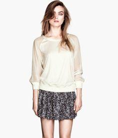 Sweatshirt with Sheer Sleeves: H