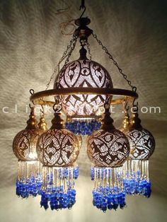 Handmade Brass Ring Beaded Ball Lampshades Chandelier Ceiling Lamp Handmade Brass Ring Beaded Ball L Chandeliers, Ceiling Lamp, Chandelier Lighting, Ceiling Lights, Moroccan Chandelier, Blue Chandelier, Handmade Chandelier, Moroccan Lamp, Wall Lamps