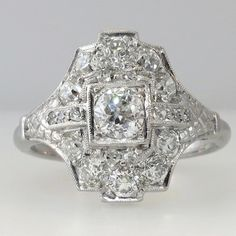 Gorgeous Edwardian 1.75ctw Old European Cut Diamond Cocktail Ring | Antique and Estate Jewelry | JewelryFinds.com Price: $2999.00 SOLD: 9/11/14