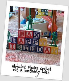 Use blocks for party decor (other toy story ideas on this site)