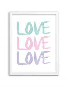 Free Printable Watercolor Love Art from @chicfetti - easy wall art DIY