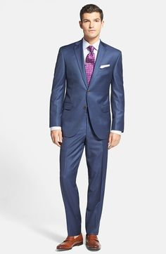 Free shipping and returns on David Donahue Stripe Wool Suit & Check Dress Shirt at Nordstrom.com.