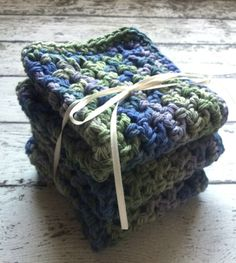 Handmade Kitchen Dish Cloths Crochet Blue Purple Green Earth Friendly Cotton Set of 3