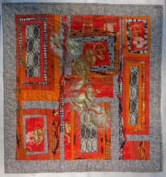Contemporary fiber art wall hanging 'Masks' by farbenspielquilts, $275.00
