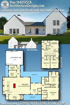 Our Contemporary Farmhouse Home Plan 144051SCA gives you 3,000+ square feet of living space with 3 bedrooms and 3.5  baths. AD House Plan #144051SCA #adhouseplans #architecturaldesigns #houseplans #homeplans #floorplans #homeplan #floorplan #floorplans #houseplan Country House Plans, New House Plans, Dream House Plans, Modern House Plans, Dream Houses, House Floor Plans, Country Living, Contemporary Country Home, Contemporary House Plans