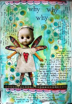 Dreaming Again by thekathrynwheel. Collage featuring a slightly creepy doll's head.