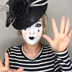 Mime makeup for Halloween. Simple costume idea! Love it. @makeupartist411
