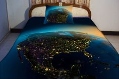 North America night vision map duvet cover US map bedding set map quilt cover and two America map pillow covers US nightlight map comforter by Tbedding on Etsy https://www.etsy.com/listing/159389887/north-america-night-vision-map-duvet