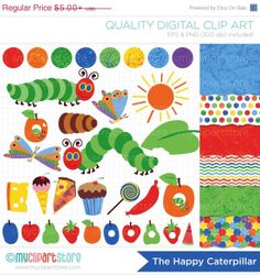 ON SALE  Clipart Combo  The Happy Caterpillar by MyClipArtStore, $3.25