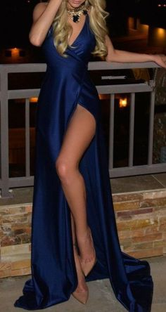 Custom Made Charming Royal Blue Prom Dresses,Sleeveless Evening Dresses, V-Neck Prom Dresses,Sleeveless Evening Dress,Split at lower part of dress