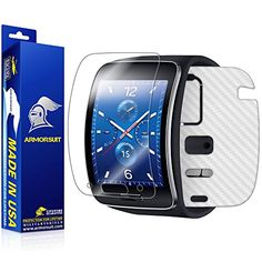 ArmorSuit MilitaryShield - Samsung Gear S Screen Protector + White Carbon Fiber Full Body Skin Protector / Front Anti-Bubble Ultra HD - Extreme Clarity & Touch Responsive Shield with Lifetime Free Replacements - Retail Packaging