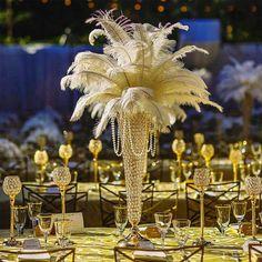Chandelier Centerpiece, Flower Centerpieces, Flower Arrangements, Ostrich Feather Centerpieces, Unique Centerpieces, Feather Wedding Centerpieces, Manzanita Centerpiece, Table Centerpieces, Roaring 20s Wedding