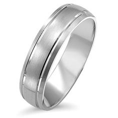 White Gold Band His And Hers Set Of Wedding Rings Half Polish Satin Finish Bands