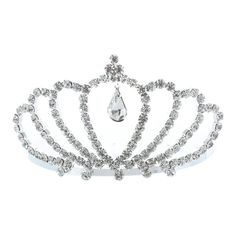 Kate Marie 'ania' Rhinestone Crown Tiara Hair Pin in Silver ($14) ❤ liked on Polyvore featuring jewelry, brooches, grey, jewelry & watches, crown tiara, rhinestone tiara, rhinestone hair accessories, crown hair accessories and tiara crown