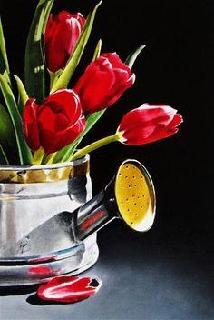 """Watering Can Tulips"" - Original Fine Art for Sale - © Jacqueline Gnott"
