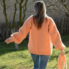 **** New Hand Knitted Chunky 100% WOOL Cardigan PEACH color Button-less **** *** CREATED & DESIGNED by EXTRAVAGANTZA *** DESCRIPTION: EXTRAVAGANTZA's online clothing boutique is offering you an exceptional quality hand knitted WOOL masterpiece. Born from a great love to knitwear this