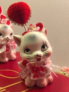 Valentine Decoration Vintage Japan Kitty Cats Mid Century Modern 50's 60's Kitsch Style Whimsical Retro Holiday Figurine OOAK