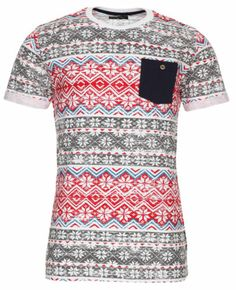 Blue Inc Mens Fashion Casual Graphic Tee Short Sleeve Aztec Print T Shirt White   eBay