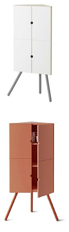 """IKEA PS 2014 corner cabinet. """"The idea behind the IKEA PS 2014 cabinet was to make good use of otherwise unused spaces like corners. Besides providing valuable storage space, the corner placement also creates a well-defined display space on top. That you can remove the legs and attach the cabinet to the wall adds flexibility too."""" Designer: Keiji Ashizawa"""