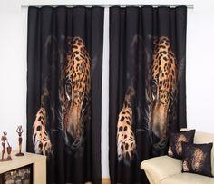 Černé závěsy do oken s hnědým leopardem Curtains, Shower, Prints, Rain Shower Heads, Blinds, Showers, Draping, Picture Window Treatments, Window Treatments