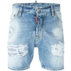 dsquared2 Short Jeans ($330) ❤ liked on Polyvore featuring men's fashion, men's clothing, men's jeans and denim blue